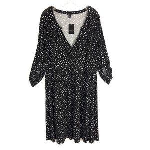 Torrid 2 Polka Dot Knit Button Front Shirt Dress